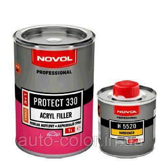 Грунт акриловый 5+1 PROTECT 330 Novol 1л + отвер.0,20л, серый