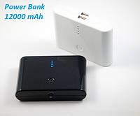 Power Bank емкостью 12000 mAh с индикатором заряда и переходникамы (цвет: черный, белый)