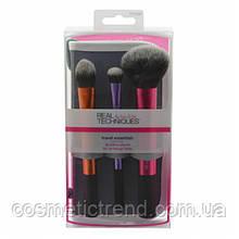 Набор кистей для макияжа лица (3 шт+подставка/футляр) REAL TECHNIQUES Travel Essential 01400
