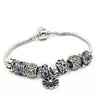 """Браслет Pandora (пандора) на руку """"Цветок"""" синие шармы P0062"""