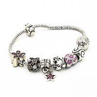 "Браслет Pandora (пандора) на руку ""Звезда"" розовые шармы P0063"