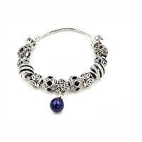 """Браслет Pandora (пандора) на руку """"Жемчуг"""" синие шармы P0035"""