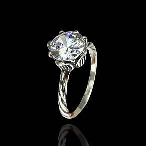 Серебряное кольцо с камнями Цветок, фото 2