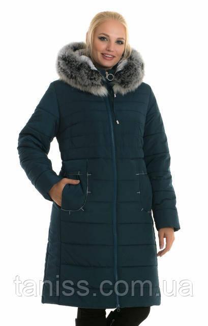 Женская зимняя куртка, мех песец, со съемным капюшоном, размеры 46,48,малахит(48)