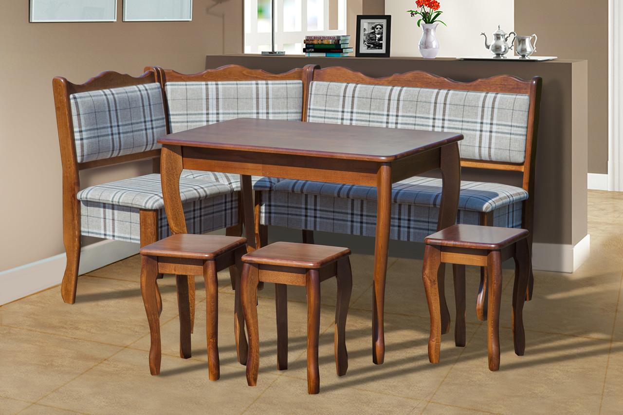 Комплект кухонний (куточок+стіл+3 табурета) Шотландія Горіх/Шотландія 1а