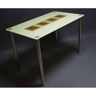 Стіл обідній зі скла в кухню вітальню Вихор БЦ-стол