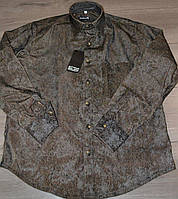 Мужская однотонная темно-коричневая вельветовая рубашка (размеры 38,39)