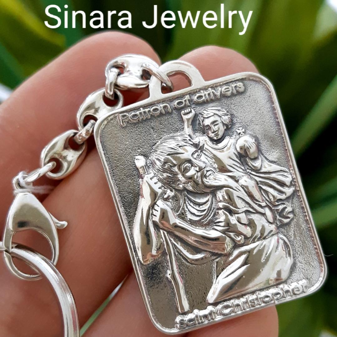 Серебряный брелок оберег для водителя Святой Христофор