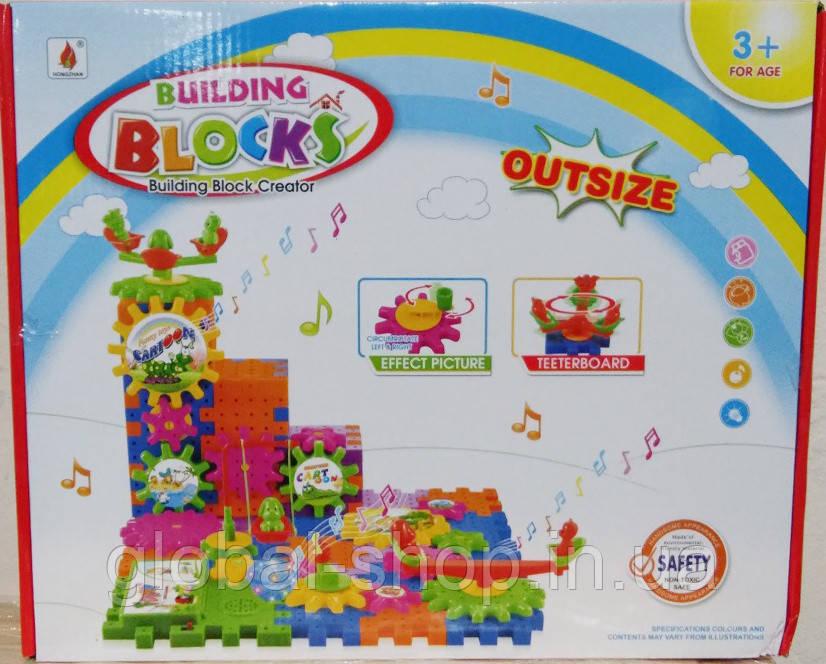 Конструктор шестеренки 9002, 103 дет, конструктор для малышей,световые и звуковые еффекты
