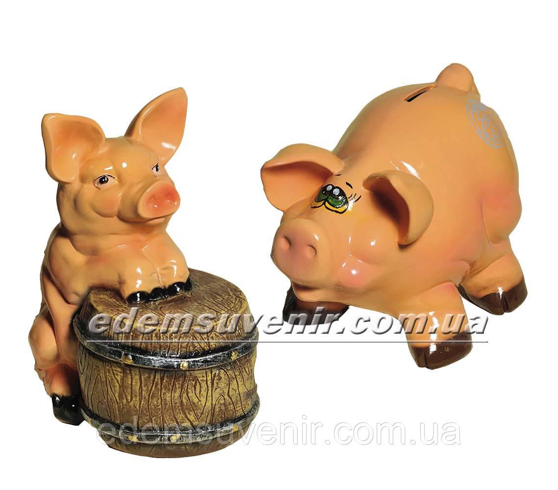 Копилка Свинка с бочкой и Свинка веселая