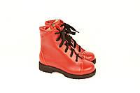 Детские ботинки для девочек натуральная кожа красные зимние и демисезонные 233104