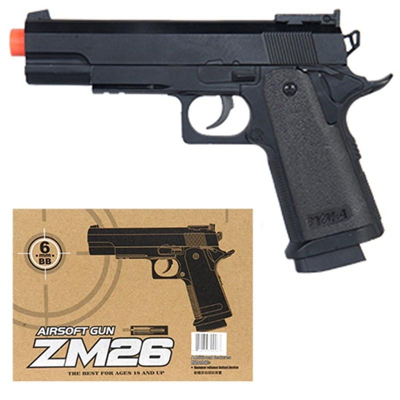 Пистолет ZM26 металлический на пульках 17см