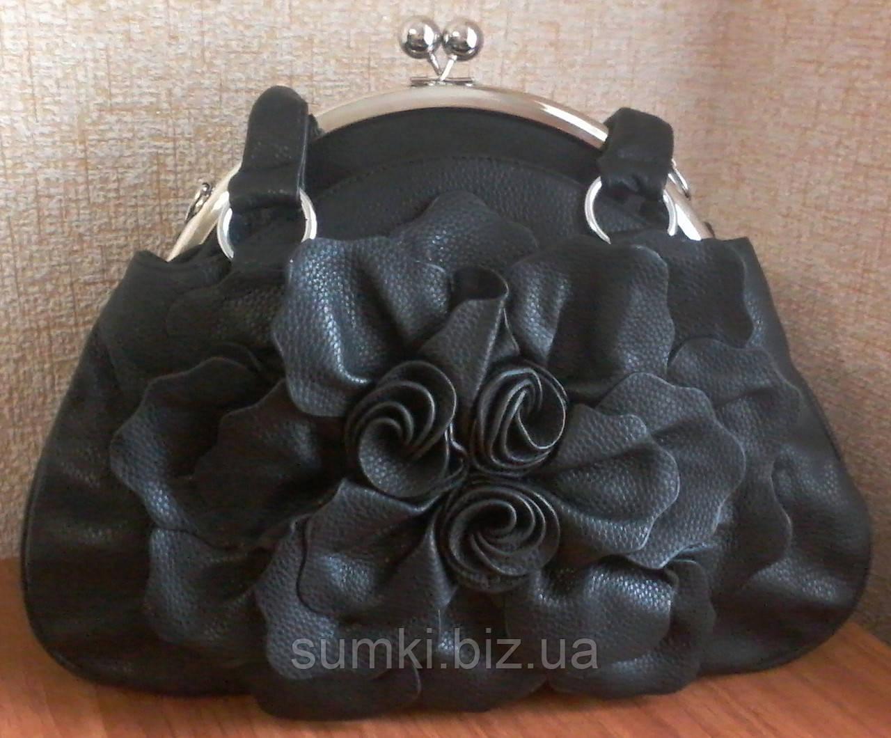 Красивые женские сумки, черного цвета с розой