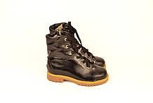 Ботинки детские для мальчиков натуральная кожа с нанесением лака черный 133114