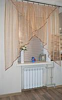 """Гардина Уголок """"Сетка коричнево-золотистая""""., фото 1"""