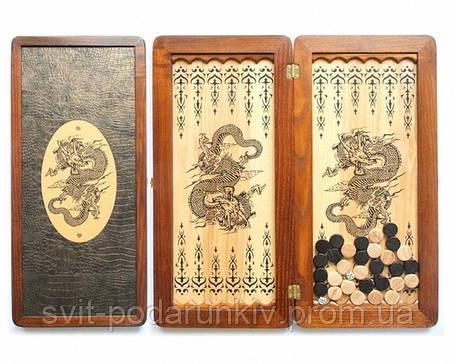 """Нарды подарочные деревянные """"Дракон китайский"""" большие, фото 2"""