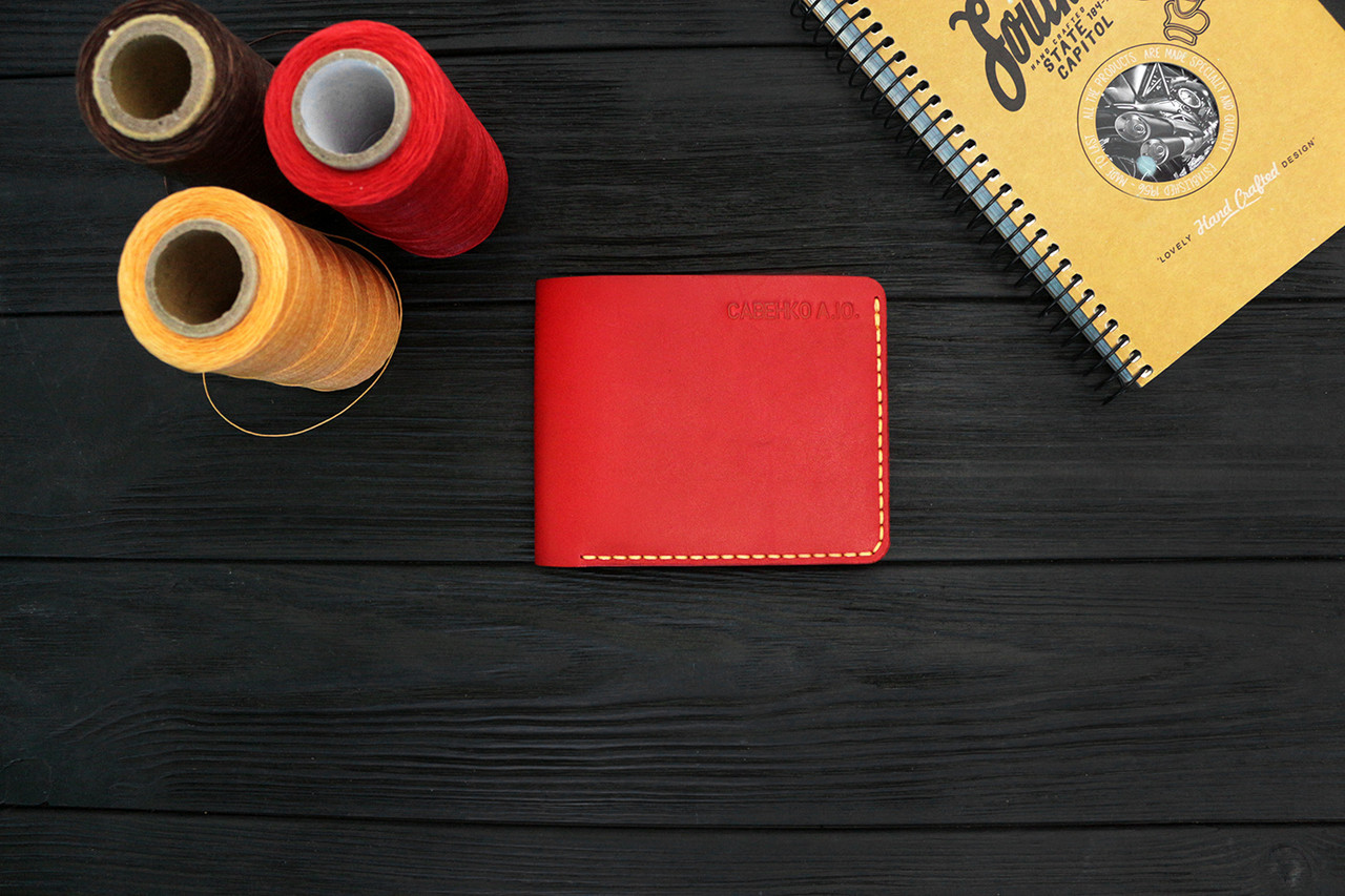 Мужской кожаный бумажник ручной работы VOILE mw2-kred-org