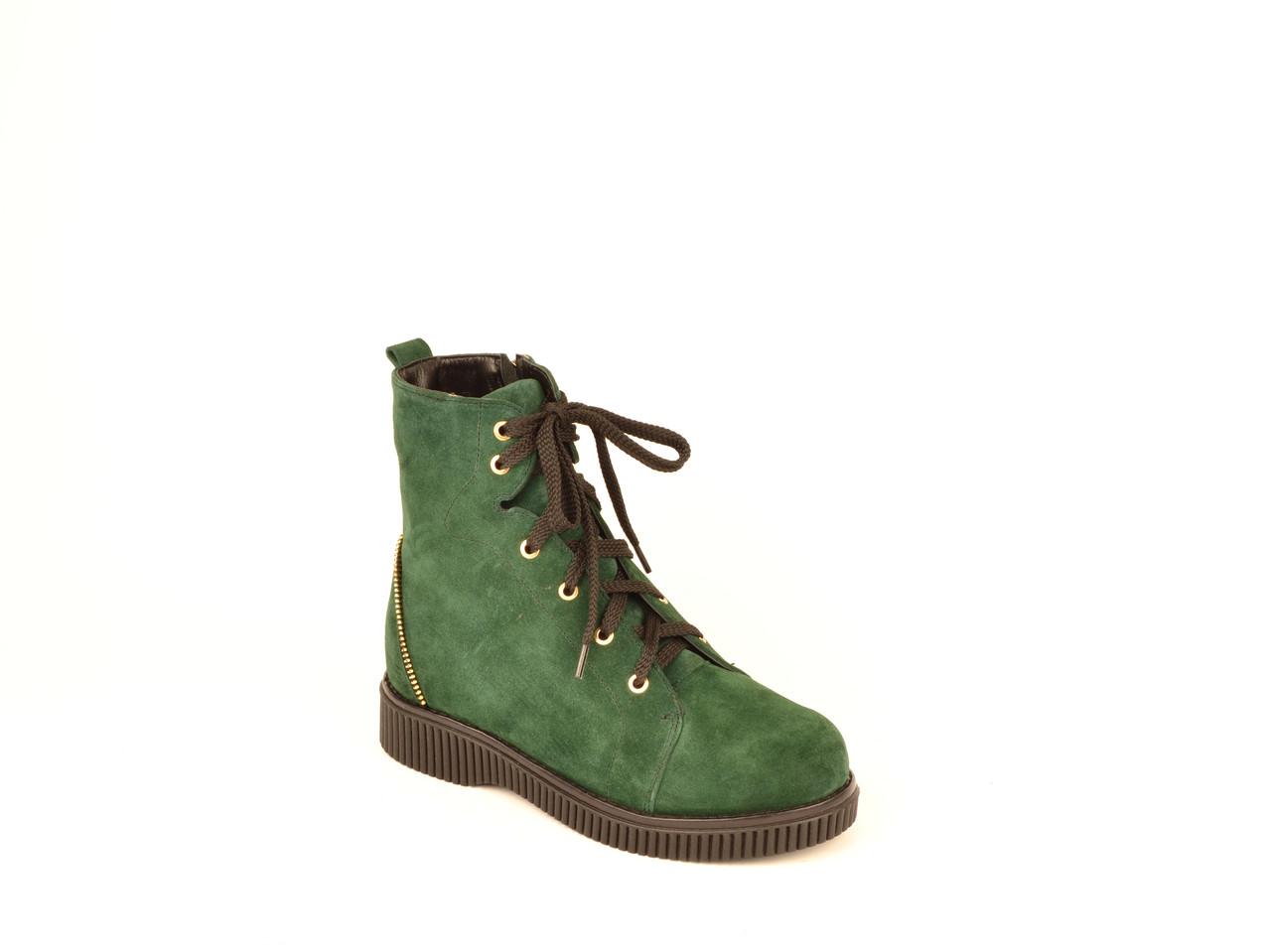 Черевики жіночі без каблука натуральна замша зелений зимові і демісезонні від виробника KARMEN 153006