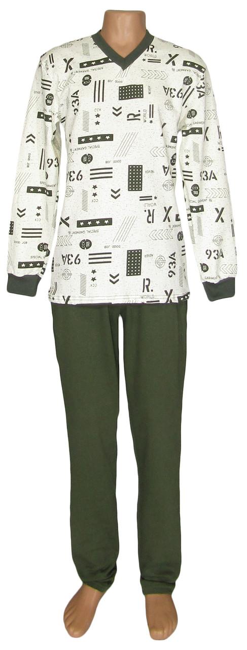 Пижама теплая трикотажная мужская 18204 Pocket Soft Contrast коттон начес, р.р.44-54