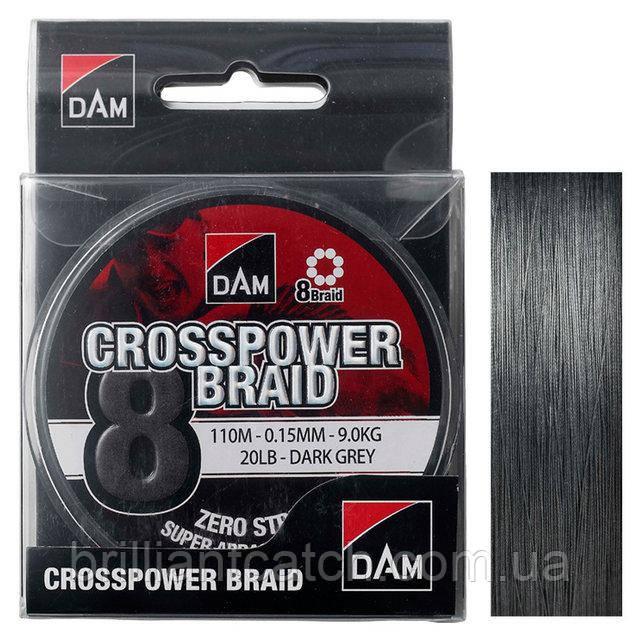 Шнур DAM CROSSPOWER 8-BRAID 110м 0,22мм 13,5кг/30Lb (dark grey)