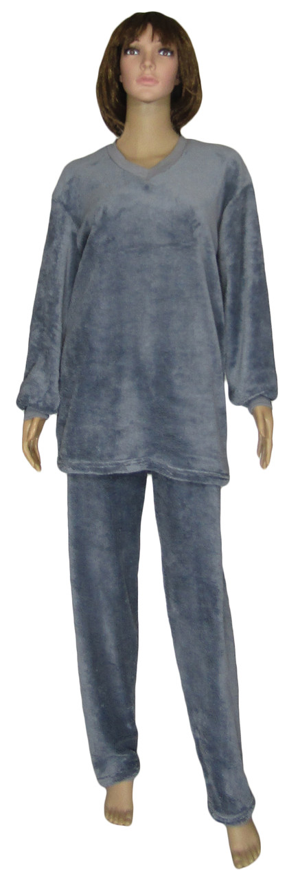 Пижама женская зимняя махровая 18312 Classic Grey вельсофт, р.р.48-58