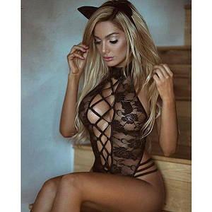 Сексуальное бельё боди наряд кошки Kitty размер S-M сеточка кружевная  черная комбидресс