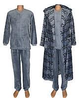 Комплект мужской махровый / пижама и халат 18312 18313 Classic Grey Versace вельсофт, р.р.48-58