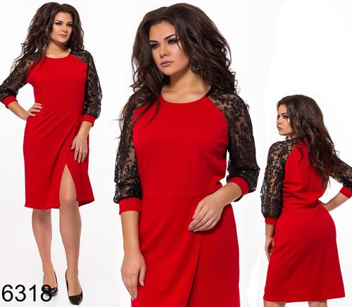 bf8c2e066c2 Вечернее платье рукава из сетки с вышивкой (красный) 826318 купить ...