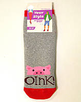 Махровые хлопковые женские носки со свинкой