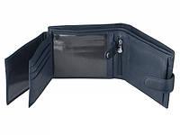Синий мужской кожаный кошелек с отделом для удостоверения