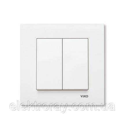 Выключатель двойной белый Viko Karre, фото 2