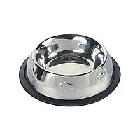 Миска металлическая для собак и котов Trixie на резиновой кромке 200 мл / 15 см