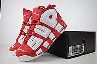 Женские кроссовки Nike Uptempo x Supreme красные с белым топ реплика