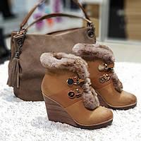 Ботинки женские зимние из натурального нубука и натурального меха на танкетке  коричневые