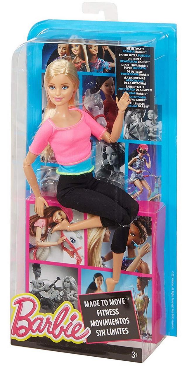 кукла барби из серии безграничные движения блондинка в розовом топе на фитнесе