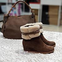 Ботинки женские зимние из натуральной замши и натурального меха на танкетке  коричневые