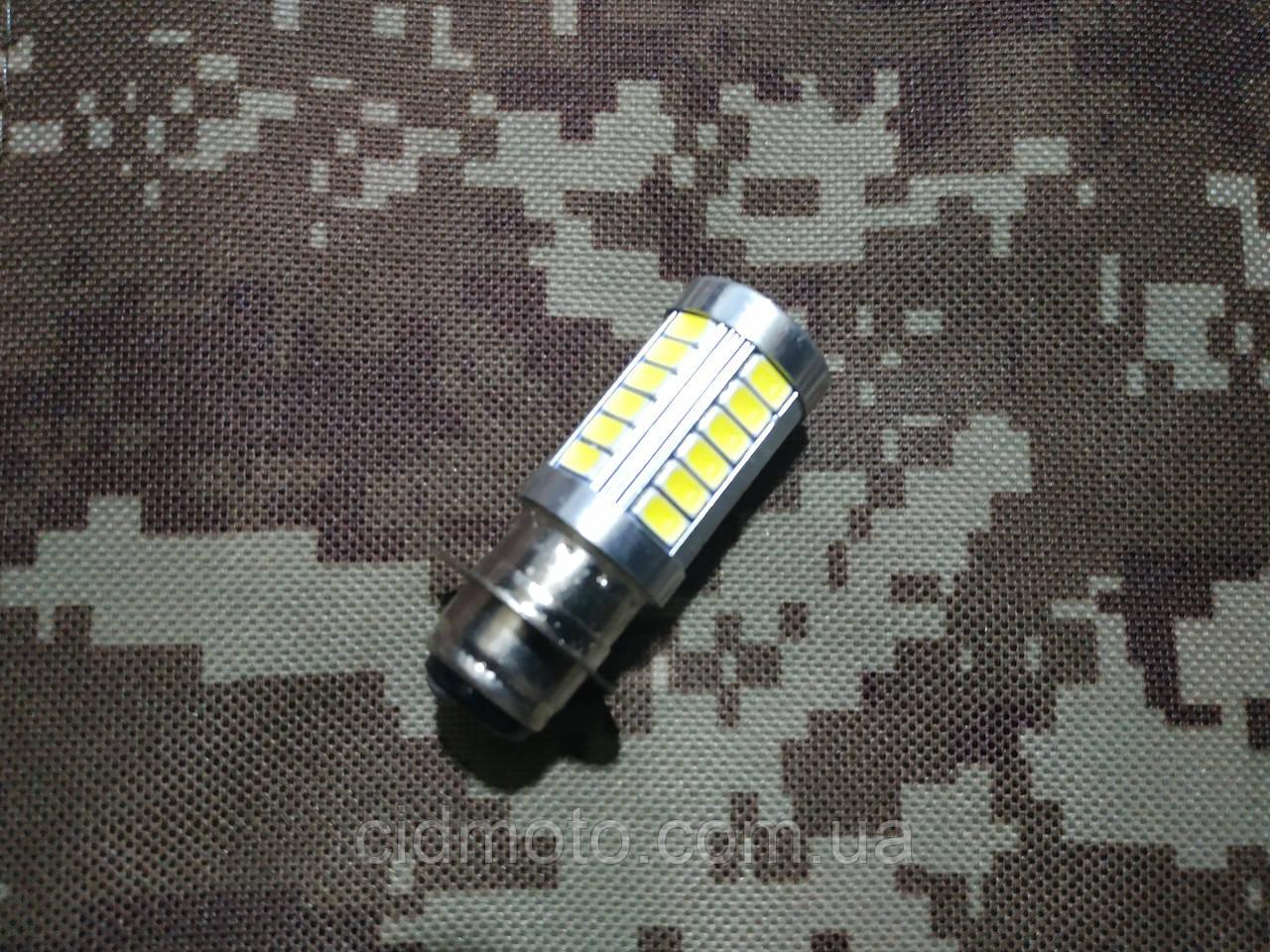Лампа фары головного света диодная 12V LED-33 с линзой (P15D)