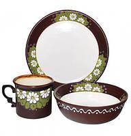 Набор детский 3 предмета Добра глина Ромашки кружкапиала и тарелка, КОД: 171252