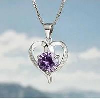Серебряный кулон, Сердце, стерлинговое серебро, 925 пробы, кубический цирконий, фото 1