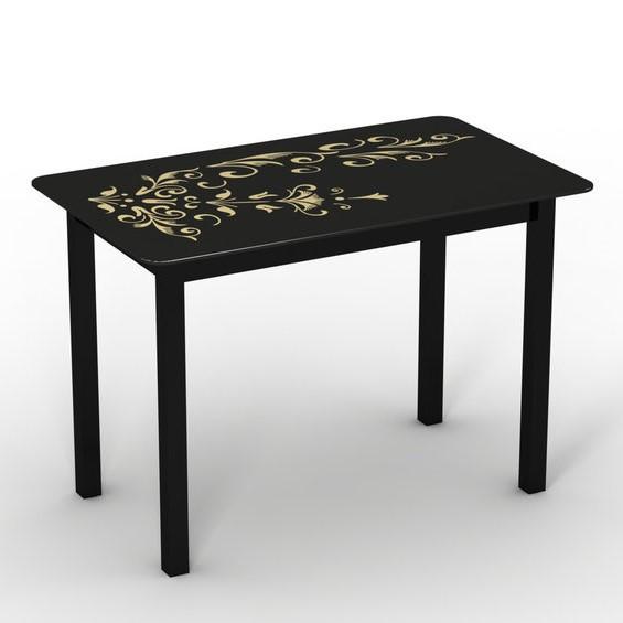 """Скляний стіл """"Монарх Чорний зефір"""" ТМ Sentenzo"""