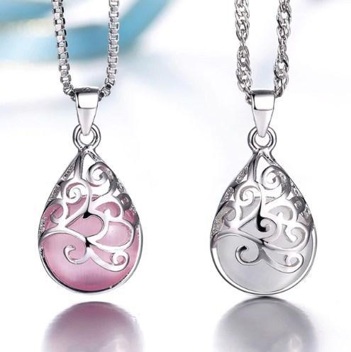 Серебряный кулон с белым и розовым лунным камнем стерлинговое серебро 925 проба