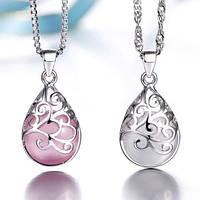 Серебряный кулон с белым и розовым лунным камнем стерлинговое серебро 925 проба, фото 1