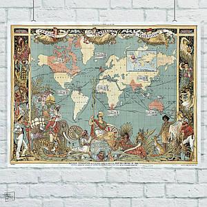 Постер Древняя карта Земли, Earth Ancient Map. География, история. Размер 60x42см (A2). Глянцевая бумага