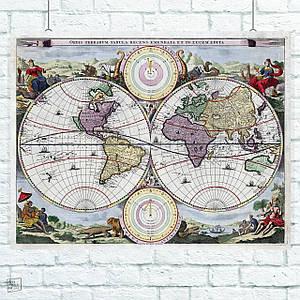 Постер Древняя карта Земли, Earth Ancient Map. География, глобус, история.. Размер 60x47см (A2). Глянцевая бумага