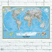 Постер Политическая карта мира (англ.). Размер 60x42см (A2). Глянцевая бумага