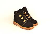 Детские ботинки для девочек натуральная замша черные зимние и демисезонные 233112