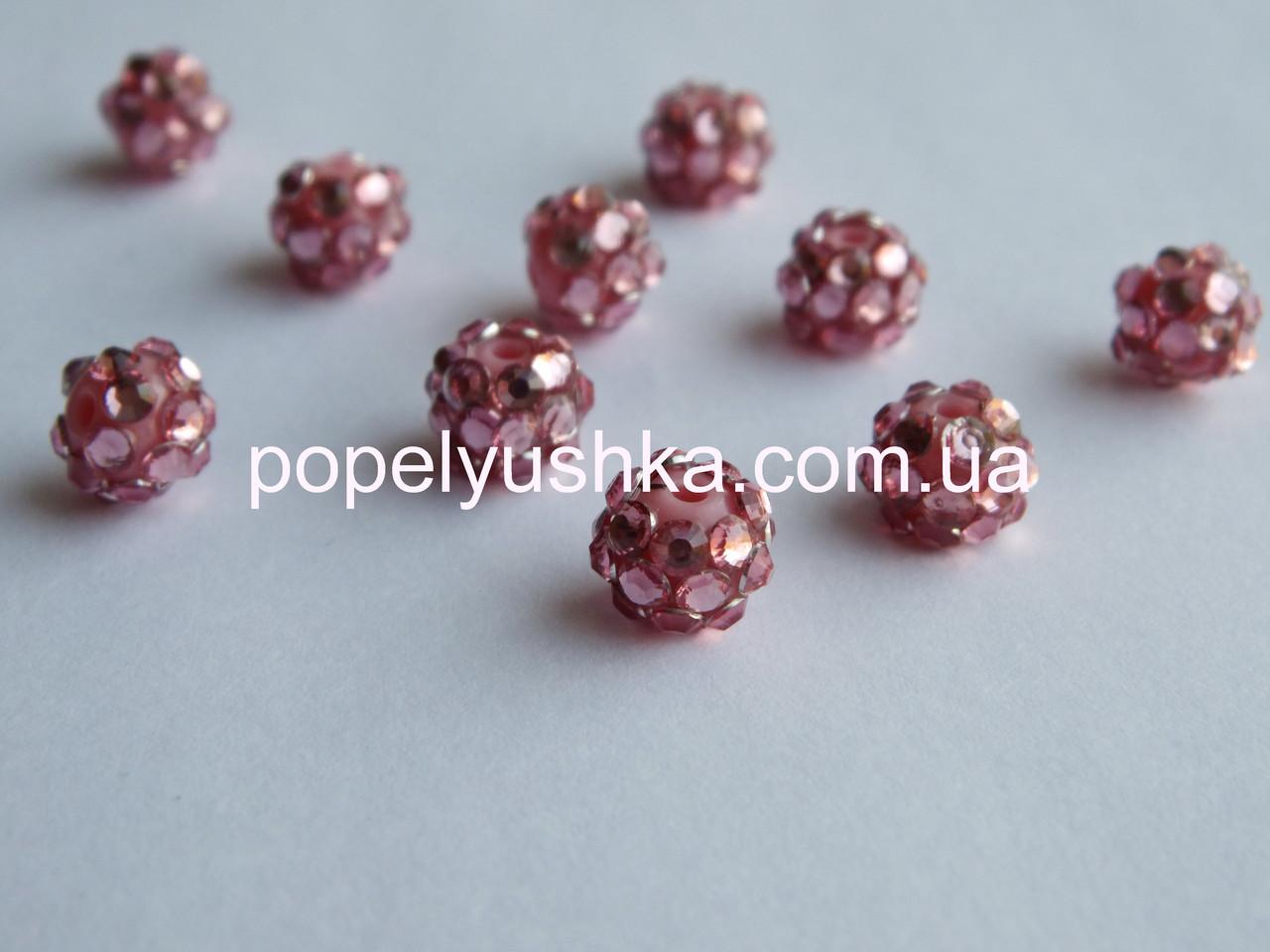 Намистини шамбала Срібно-Рожеві 10 мм