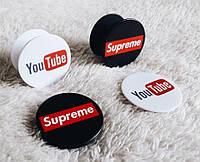 Универсальный держатель-подставка для телефона PopSockets YouTube, фото 1