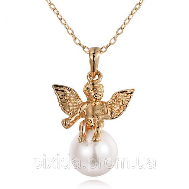 Подвеска на цепочке Ангелочек с жемчужинкой покрытие 18К золото проба