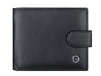 Черный кожаный кошелек на кнопке с блоком для документов